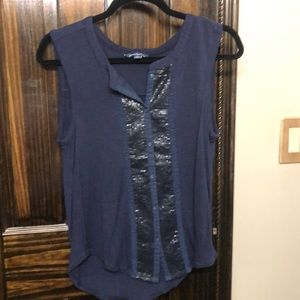 American eagle blue sleeveless sequin front top